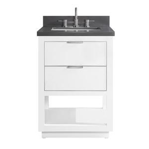 Avanity Allie Vanity - 25-in - Gray Quartz Top - White/Silver