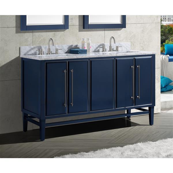 Avanity Mason Vanity - 61-in - Carrara White Marble Top - Navy Blue/Silver