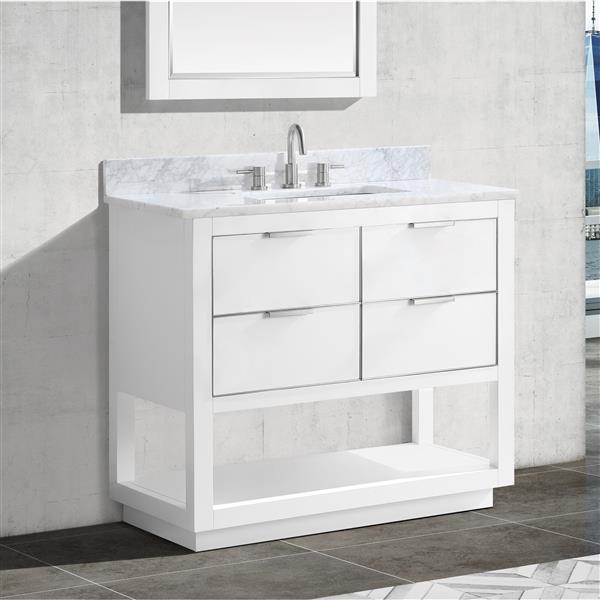 Avanity Allie 36-in Vanity - White with Silver Trim