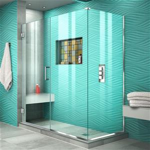 Cabine de douche Unidoor Plus de DreamLine, porte en verre, 56 po x 72 po, chrome
