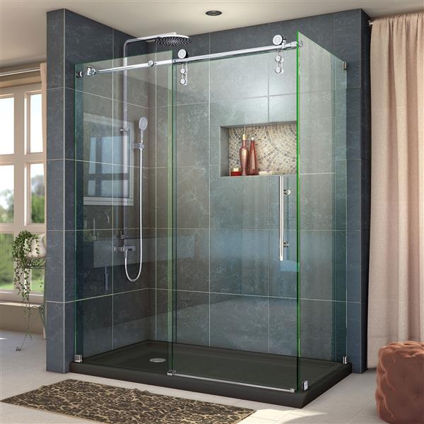 DreamLine Enigma-Z Shower Enclosure - 56.38-60.38-in x 76-in - Polished Stainless Steel