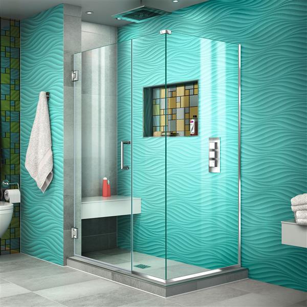 DreamLine Unidoor Plus Shower Enclosure - 39.5-in x 72-in - Chrome