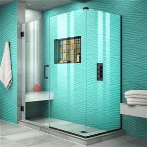DreamLine Unidoor Plus Shower Enclosure - Pivot/Hinged Door - 56.5-in x 72-in - Satin Black