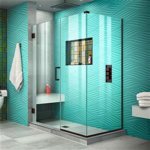 Cabine de douche Unidoor Plus de DreamLine, porte en verre, 46,5 po x 72 po, bronze huilé