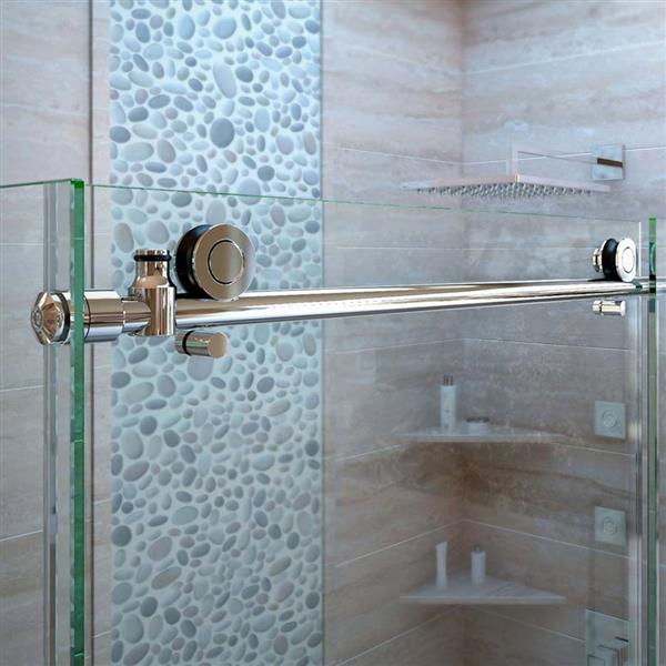DreamLine Enigma-X Shower Enclosure - Barn Door Sliding - 56.38-60.38-in x 76-in - Polished Stainless Steel