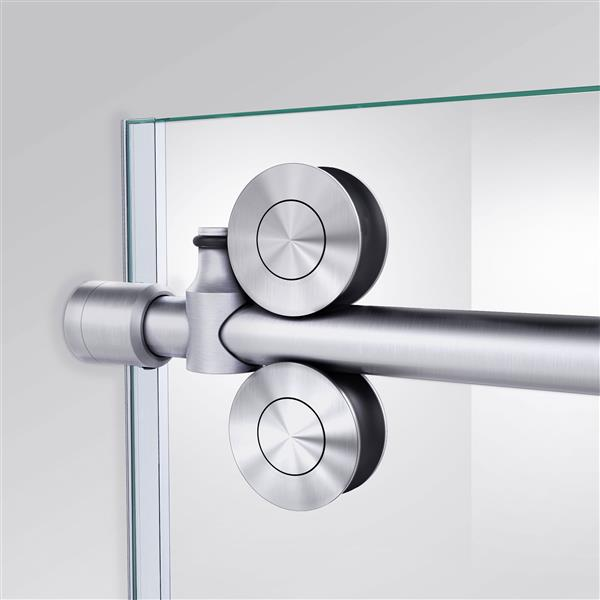 DreamLine Enigma-XO Shower Enclosure - Barn Door Sliding - 44.38-48.38-in x 76-in - Brushed Stainless Steel