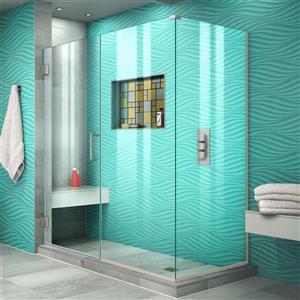 Cabine de douche Unidoor Plus de DreamLine, porte en verre, 54,5 po x 72 po, nickel brossé