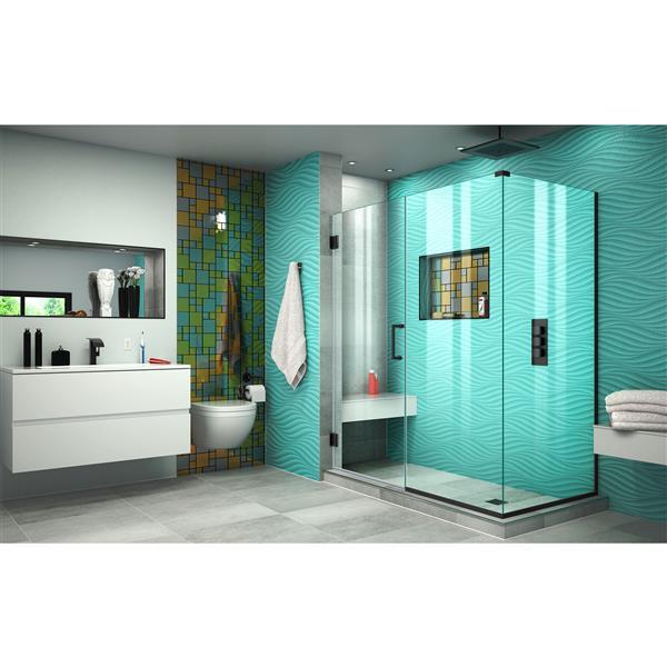 DreamLine Unidoor Plus Shower Enclosure - Pivot/Hinged Door - 56-in x 72-in - Satin Black