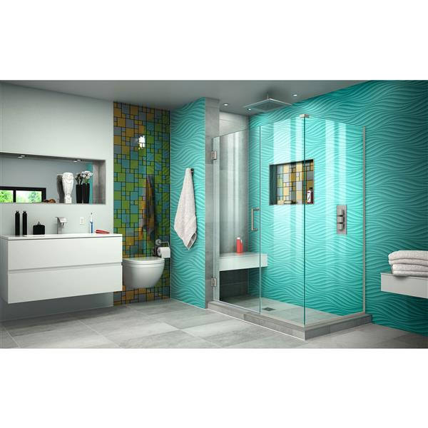 DreamLine Unidoor Plus Shower Enclosure - Clear Glass - 48-in x 72-in - Brushed Nickel