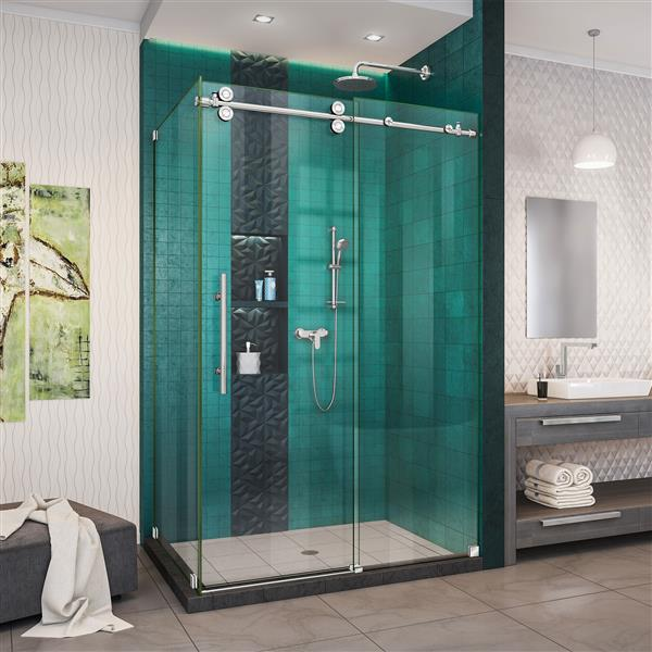 DreamLine Enigma-XO Shower Enclosure - 44.38-48.38-in x 76-in - Polished Stainless Steel