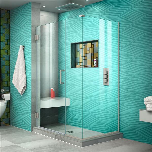 DreamLine Unidoor Plus Shower Enclosure - Clear Glass - 44-in x 72-in - Brushed Nickel