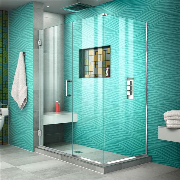 Cabine de douche Unidoor Plus de DreamLine, porte en verre, 47,5 po x 72 po, chrome