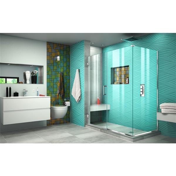 DreamLine Unidoor Plus Shower Enclosure - Pivot/Hinged Door - 57.5-in x 72-in - Chrome