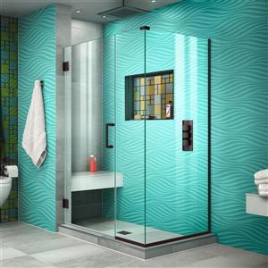Cabine de douche Unidoor Plus de DreamLine, porte en verre, 40,5 po x 72 po, bronze huilé