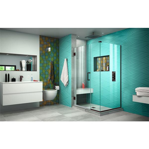 DreamLine Unidoor Plus Shower Enclosure - Clear Glass - 42.5-in x 72-in - Oil Rubbed Bronze