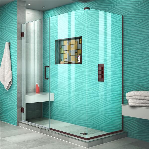 DreamLine Unidoor Plus Shower Enclosure - Clear Glass - 53-in x 72-in - Oil Rubbed Bronze