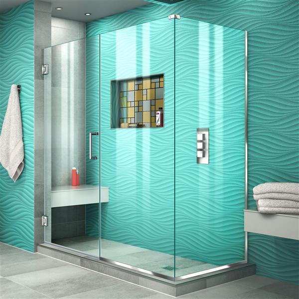 Cabine de douche Unidoor Plus de DreamLine, 53,5 po x 72 po, chrome