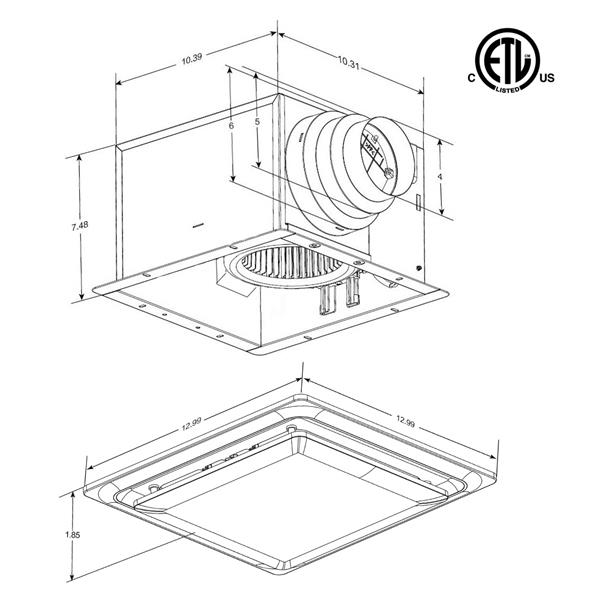 Aero Pure L5 Series Bathroom Ceiling Fan - 80 CFM - 0.3 Sones - Oil Rubbed Bronze