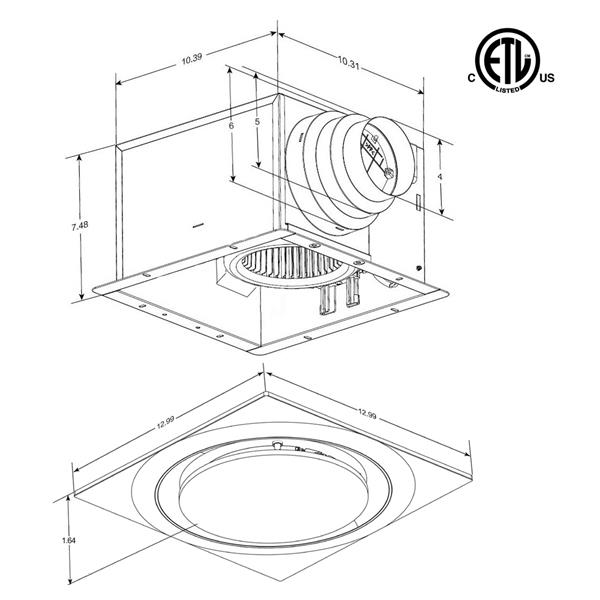 Ventillateur de salle bains L6 Series de Aero Pure, 80 PCM, 0,3 Sones, blanc