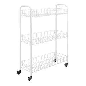 Metaltex Slim Rolling Cart - 3-Tier - White