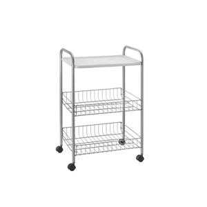 Metaltex Boston Rolling Cart - 3-Tier - White
