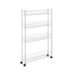 Metaltex Fino Extra Slim Rolling Cart - 4-Tier - White