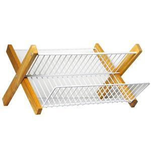 Égouttoir à vaisselle Lily de Metaltex, métal, blanc et bois