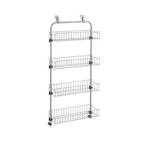 Metaltex Over-The-Door 4-Tier Storage Basket - Steel - Gray