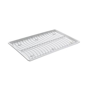 Metaltex Wavetex Flat Dish Drainer - Plastic and Metal - White