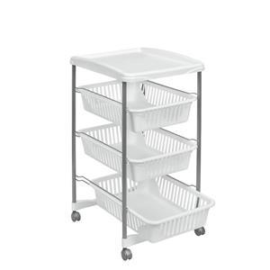Metaltex Valencia Rolling Cart - 3-Tier - White