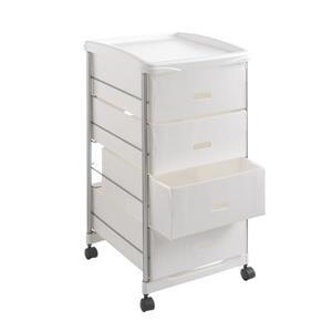 Metaltex Basel Storage Cart - 4 Drawers - White