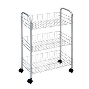 Metaltex Lugano Rolling Cart - 3-Tier - Gray