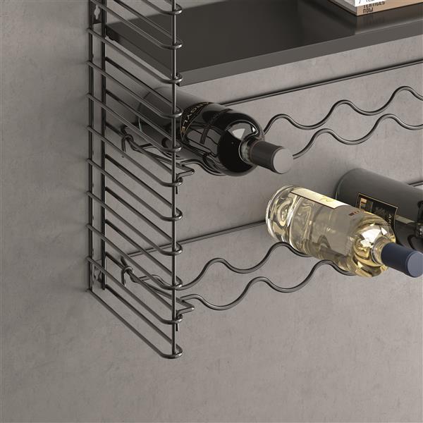 Metaltex Tomado Shelving and Bottle Rack Holders - 12 Bottles - Metal - Black