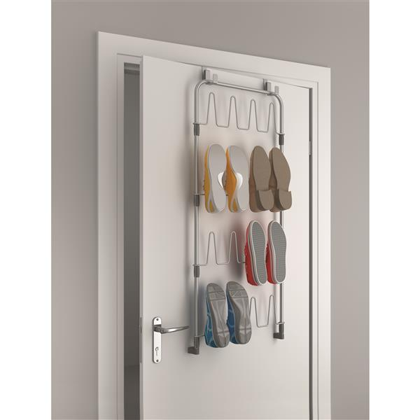 Metaltex Over-The-Door Shoe Rack - 40.55-in - Metal - Gray