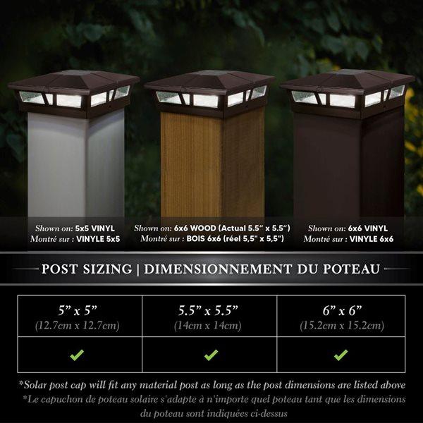 Classy Caps Cambridge Solar Post Cap - Aluminium - 6-in x 6-in - Brown