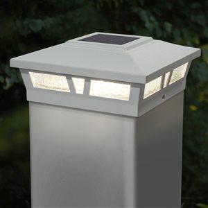 Capuchon solaire de poteau Oxford de Classy Caps, aluminium, 6 po x 6 po, blanc