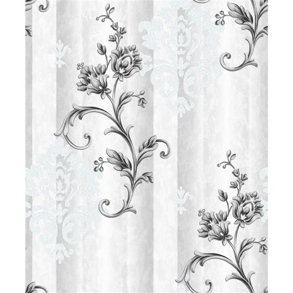 Dundee Deco Falkirk Ophia Wallpaper Roll - Flowers and Vines - Black and Grey