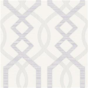Dundee Deco Falkirk Ophia Wallpaper Roll - Abstract Trellis - Lavender and Light Grey
