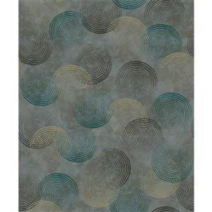 Dundee Deco Falkirk Ophia Wallpaper Roll - Circles - Teal and Grey