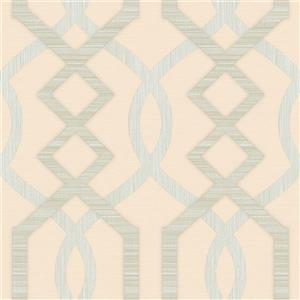 Dundee Deco Falkirk Ophia Wallpaper Roll - Abstract Trellis - Silver and Beige