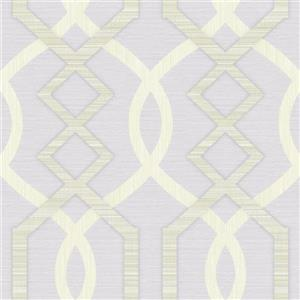 Dundee Deco Falkirk Ophia Wallpaper Roll - Abstract Trellis - Beige and Lavender