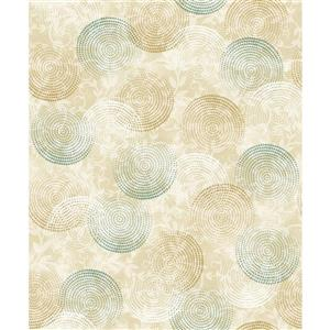 Dundee Deco Falkirk Ophia Wallpaper Roll - Circles - White and Green