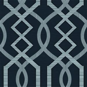 Dundee Deco Falkirk Ophia Wallpaper Roll - Abstract Trellis - Silver and Dark Grey