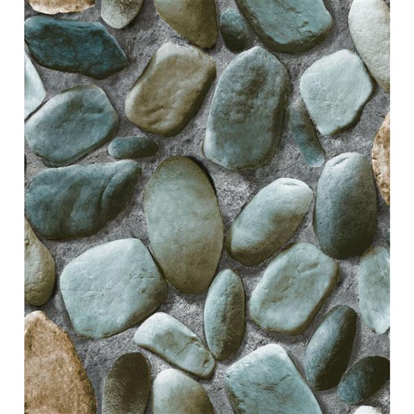 Dundee Deco Falkirk Ophia Wallpaper Roll - Smooth Stones - Grey-Blue