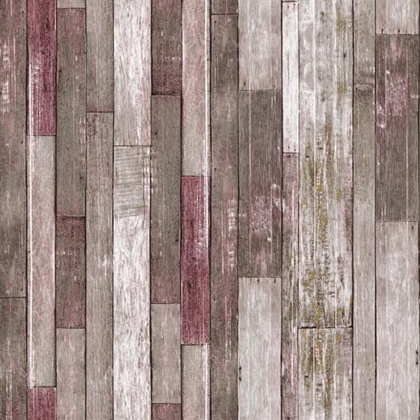 Dundee Deco Falkirk Ophia Wallpaper Roll - Retro Planks - Grey and Magenta
