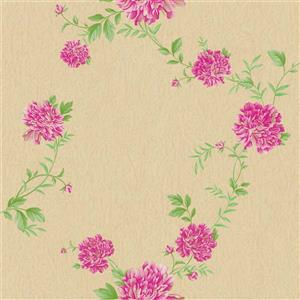 Dundee Deco Falkirk Ophia Wallpaper Roll - Peonies - Pink and Brown