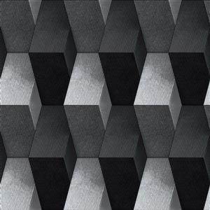 Dundee Deco Falkirk Ophia Wallpaper Roll - Blocks - Black and Silver