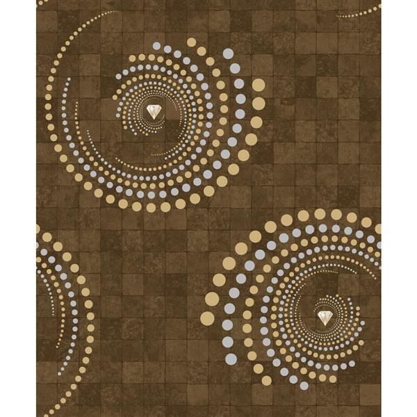 Dundee Deco Falkirk Ophia Wallpaper Roll - Spiral - Brown