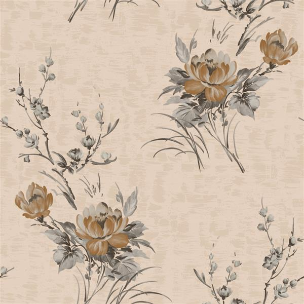 Dundee Deco Falkirk Ophia Wallpaper Roll - Flowers - Dark Tan and Beige