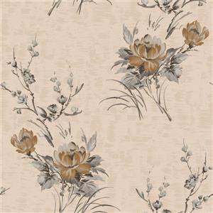 Dundee Deco Falkirk Ophia Wallpaper Roll - Flowers - Dark Tan and Beige
